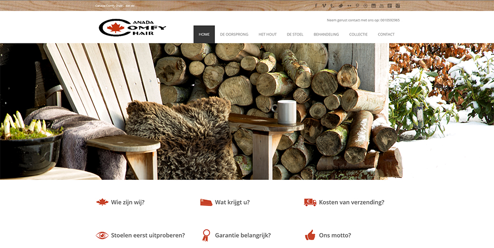 Professionele website gemaakt voor Comfy Chair door het team van JVH webbouw